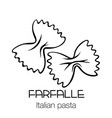 farfalle pasta outline icon vector image