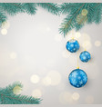 fir twigs and blue christmas balls vector image