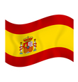 Flag of Spain waving on a white background vector image vector image