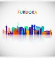 fukuoka skyline silhouette in colorful geometric vector image vector image