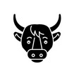 funny cow black icon sign on isolated vector image
