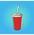 hand drawn pop art of soda cup vector image vector image