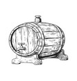 hand drawn wooden keg with beer round cask with vector image