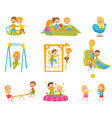 happy kids playing outdoors set children on a vector image vector image