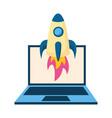 laptop computer rocket vector image vector image