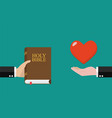 man give holy bible to others and receive love vector image
