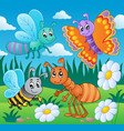 meadow with various bugs theme 2 vector image