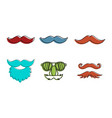 mustache icon set color outline style vector image