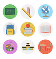 nine color flat icon set - school vector image vector image