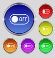 off icon sign Round symbol on bright colourful vector image vector image