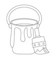 paint bucket and brush vector image vector image