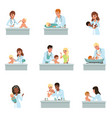 pediatrician doctors doing medical examination of vector image vector image