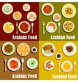 Popular wholesome dishes of arabian cuisine icons vector image vector image