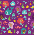 purple people color mermaids and friends vector image vector image