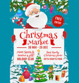 santa and elf with gifts on christmas market vector image vector image