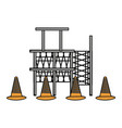 scaffold and trafic cone vector image vector image