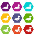 seal icons set 9 vector image vector image