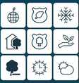 set of 9 eco icons includes timber clear climate vector image vector image