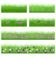 set of garden flowers in grass vector image