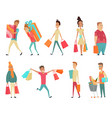 set shopping people concepts flat vector image