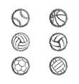 sport balls solid fingerprints set vector image vector image