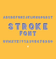 stroke font alphabet vector image vector image