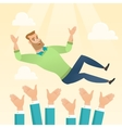 Successful businessman during celebration vector image