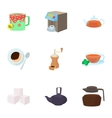 Tea icons set cartoon style vector image vector image