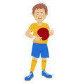 teenager boy with table tennis racket and ball vector image vector image