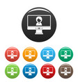 video conference icons set color vector image vector image