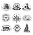 Vintage monochrome traveling labels set