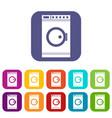 washing machine icons set vector image vector image
