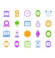 watch color silhouette icons set vector image