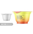 white yogurt pot template with sample design vector image vector image