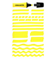 yellow hand drawn highlight lines layered boxes vector image vector image