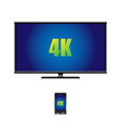 4k widescreen tv lcd display and remote control vector image