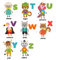 alphabet with cute animals s to z vector image vector image