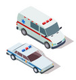 ambulance and police cars 3d isometric vector image