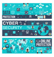 banners of online internet cyber security vector image vector image