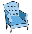 blue armchair on white background vector image vector image