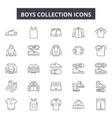 boys collection line icons signs set vector image