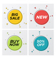 bright geometric sale labels with particles burst vector image