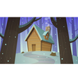 Cabin in woods - Winter vector image
