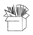 cardboard box with graph design tools in black vector image vector image
