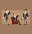 cartoon flat business man character set vector image