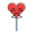 cartoon heart lollipop kawaii character vector image