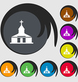 Church Icon sign Symbols on eight colored buttons vector image