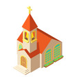 church with cross icon isometric style vector image vector image