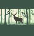 deer in forest silhouettes vector image