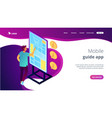 digital guide isometric 3d landing page vector image